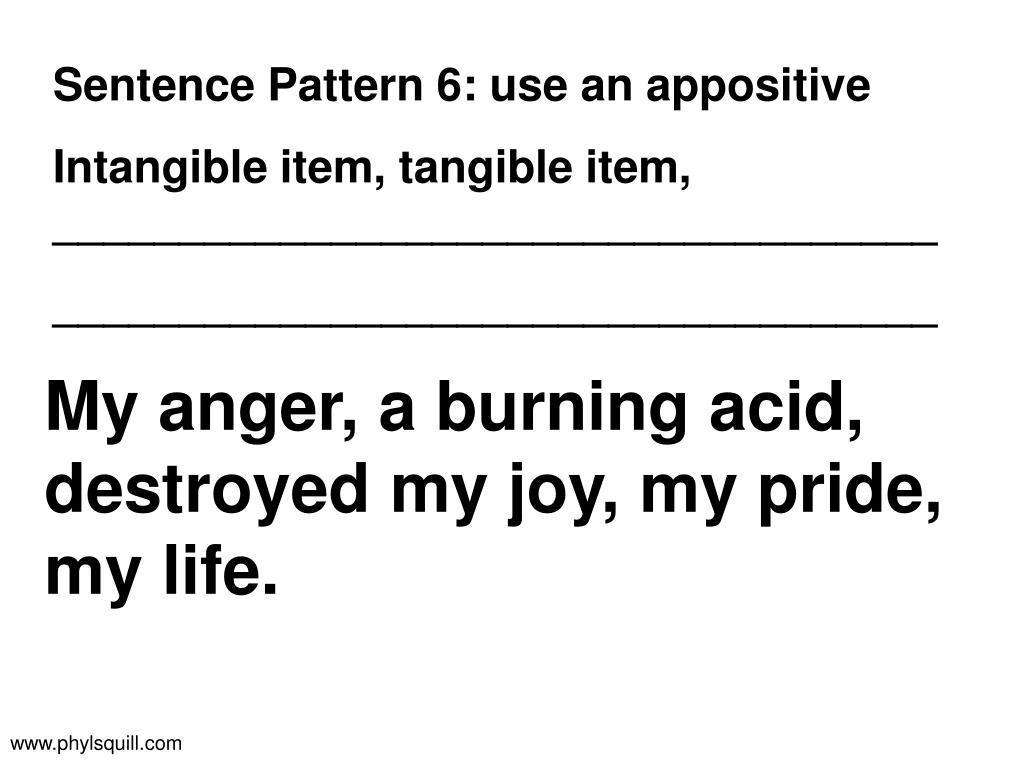Sentence Pattern 6: use an appositive