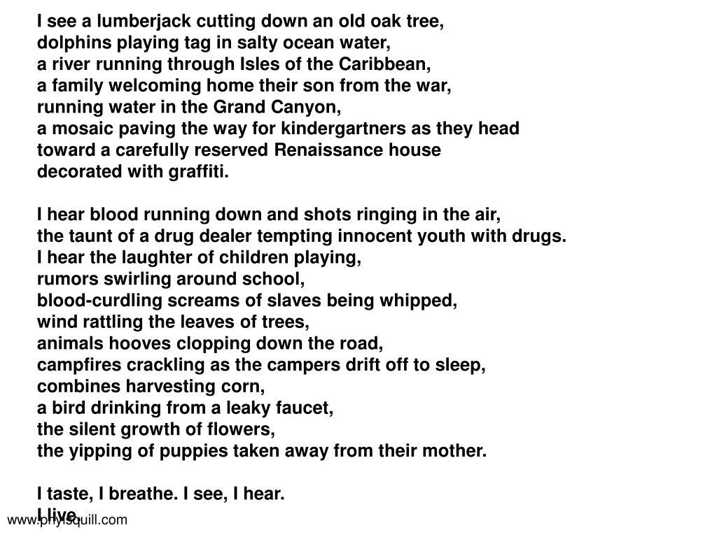 I see a lumberjack cutting down an old oak tree,