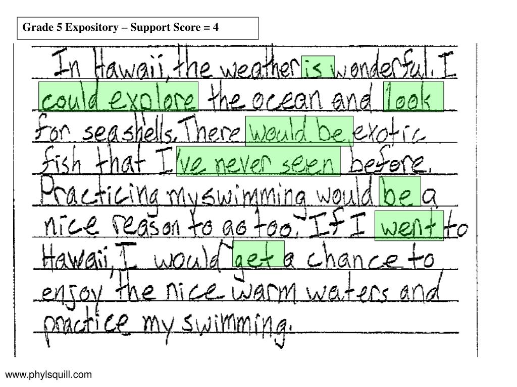 Grade 5 Expository – Support Score = 4