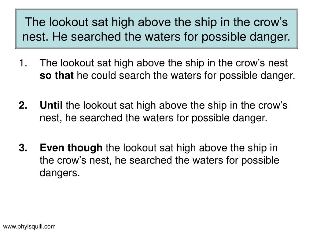 The lookout sat high above the ship in the crow's nest. He searched the waters for possible danger.
