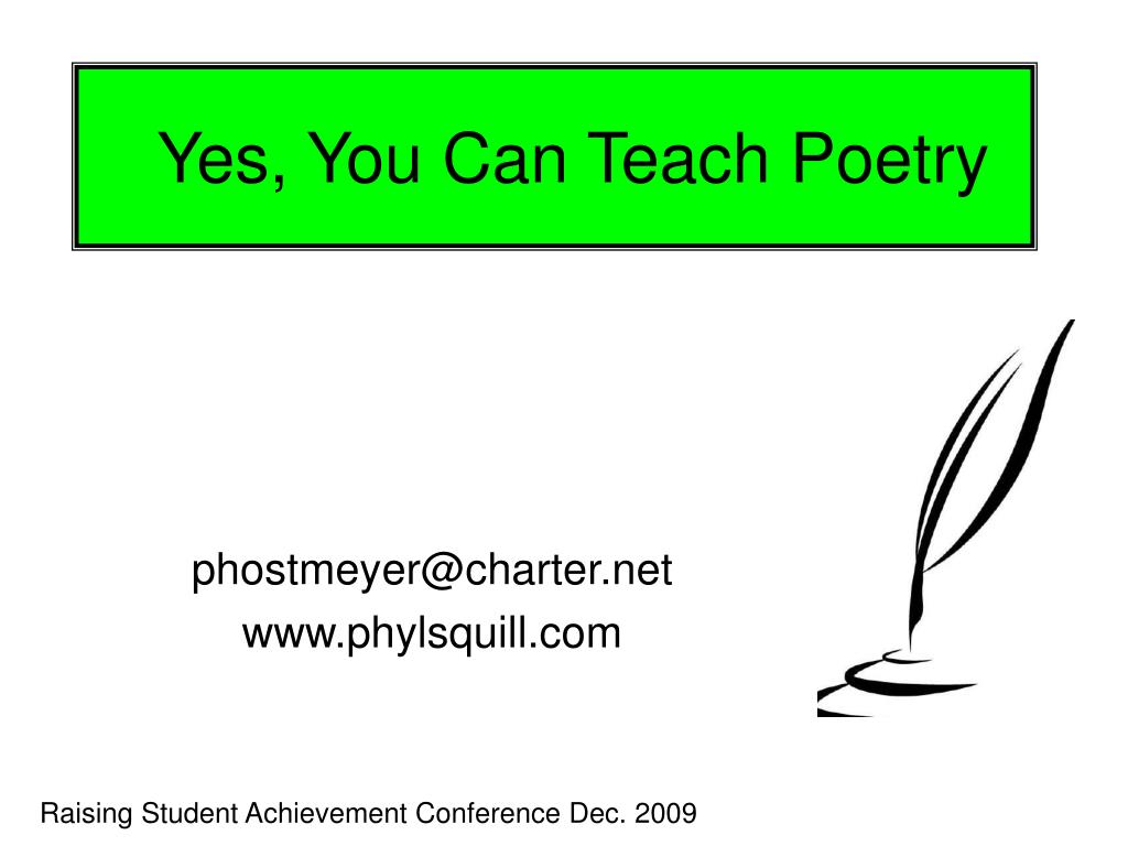 Yes, You Can Teach Poetry