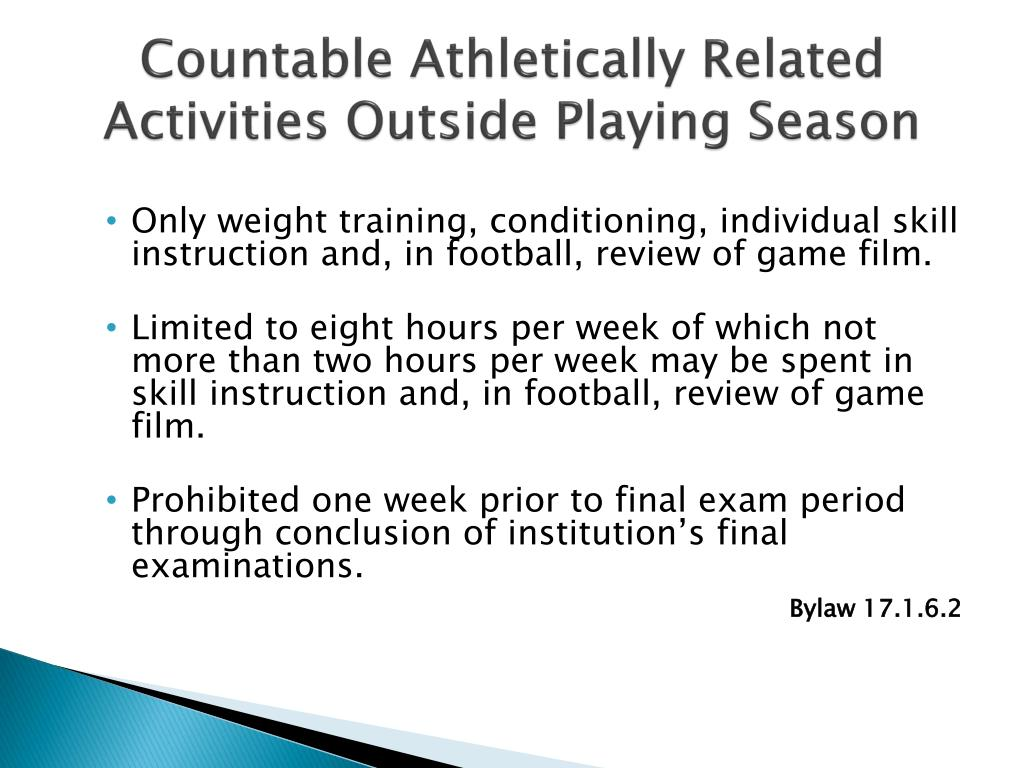 Countable Athletically Related Activities Outside Playing Season