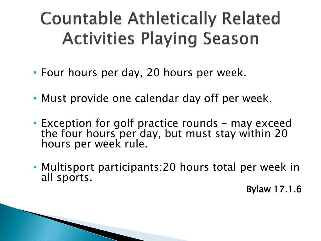 Countable Athletically Related Activities Playing Season