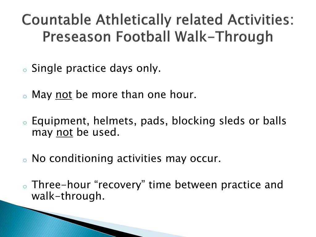 Countable Athletically related Activities: Preseason Football Walk-Through