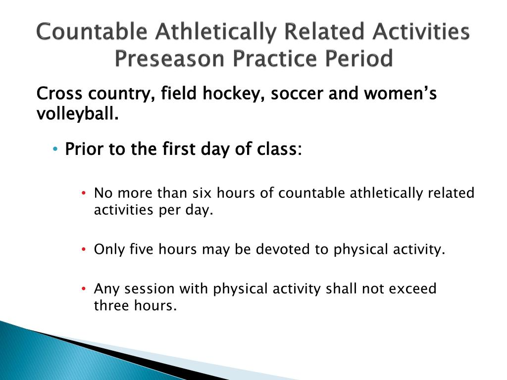 Countable Athletically Related Activities Preseason Practice Period