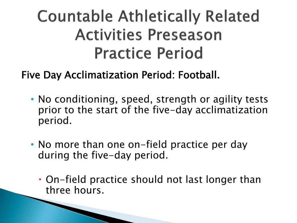 Countable Athletically Related Activities Preseason