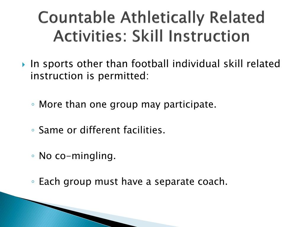 Countable Athletically Related Activities: Skill Instruction