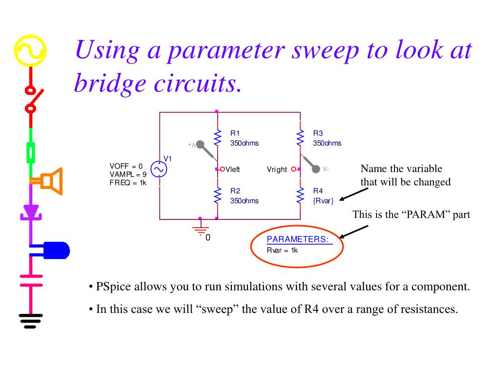 Using a parameter sweep to look at bridge circuits.