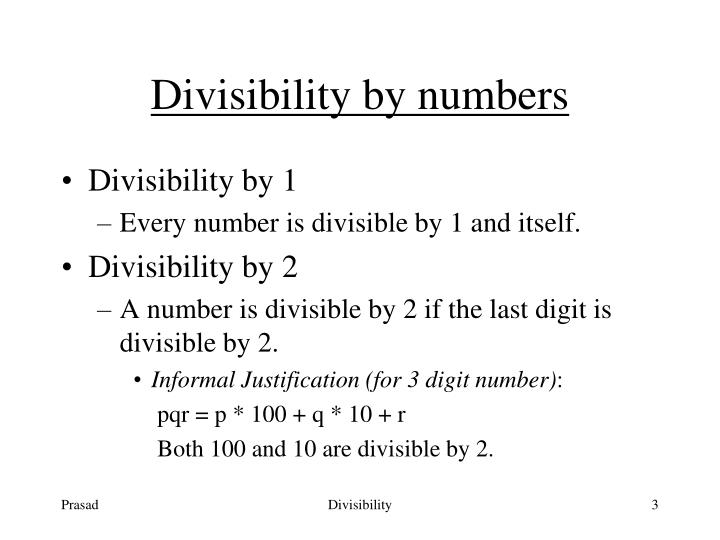 Divisibility by numbers