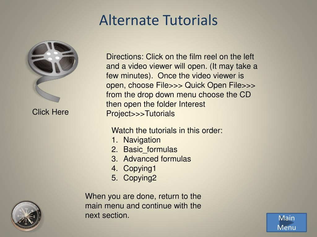 Alternate Tutorials