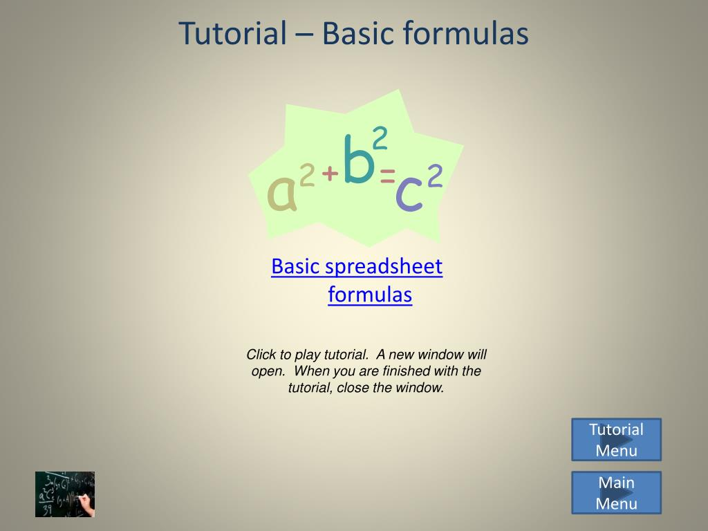 Tutorial – Basic formulas
