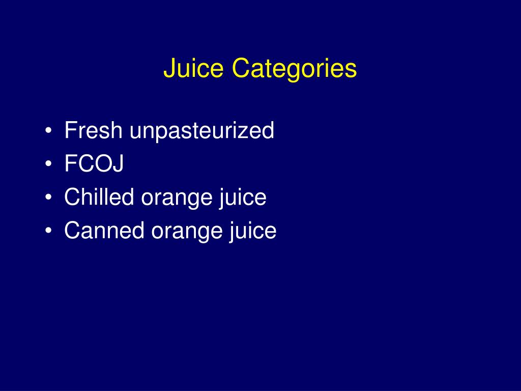 Juice Categories