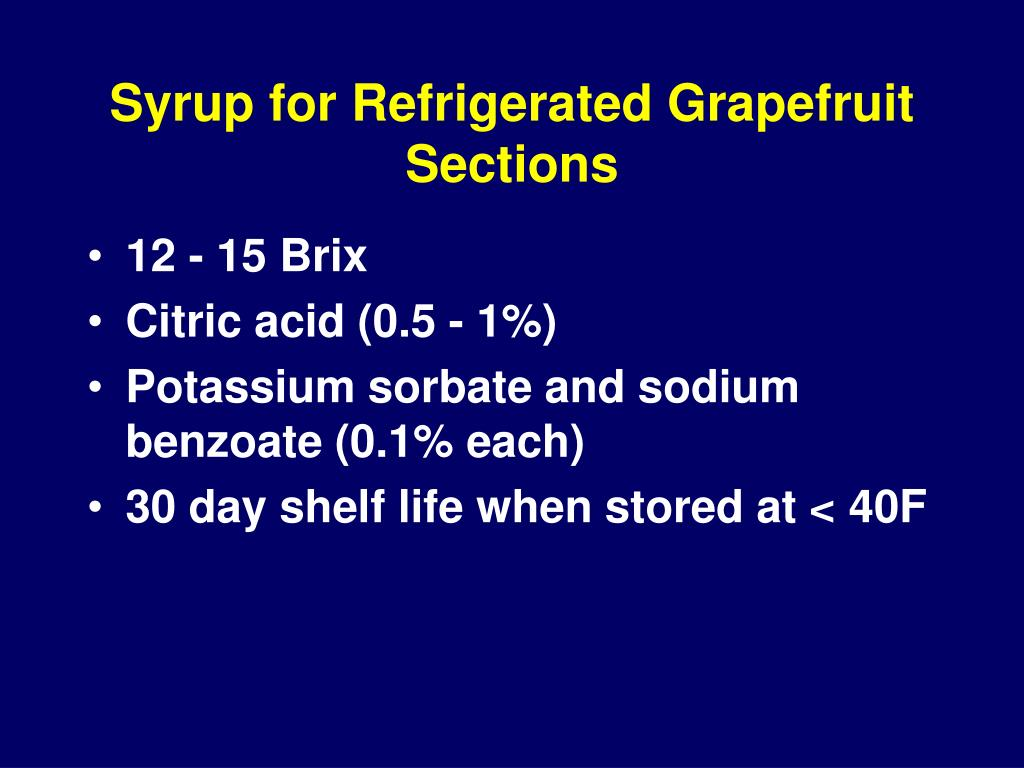 Syrup for Refrigerated Grapefruit Sections