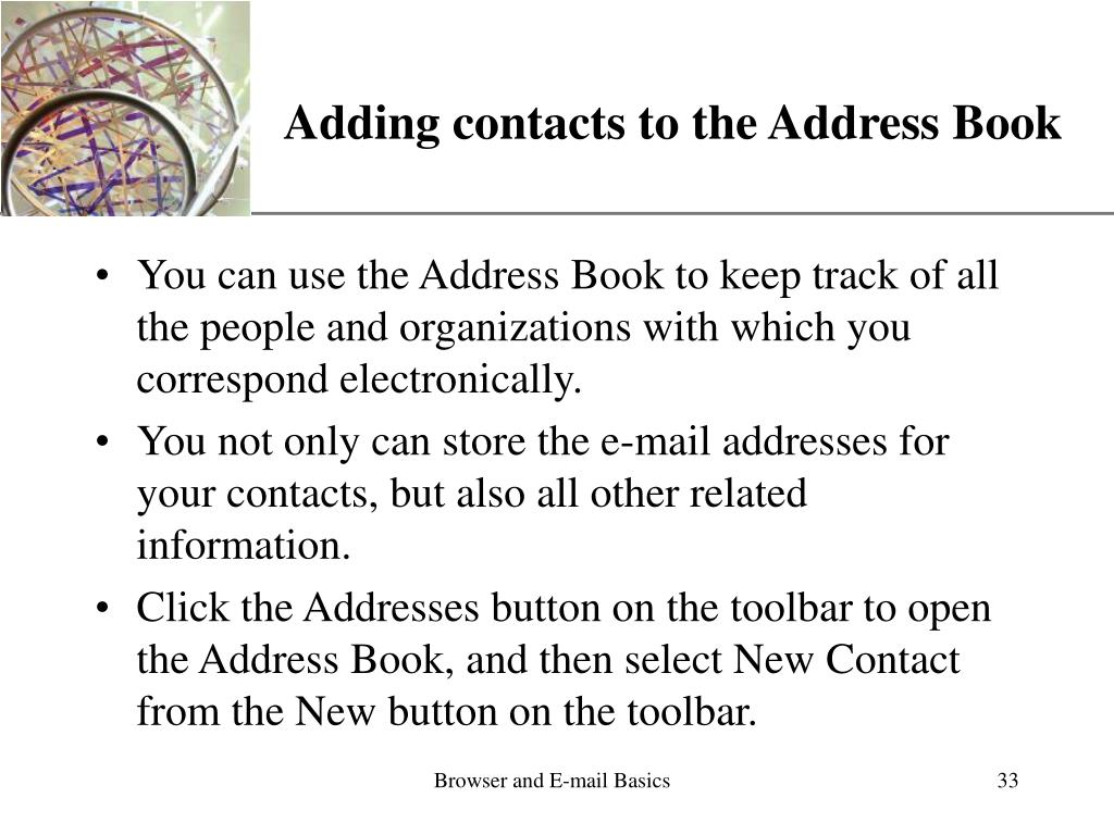 Adding contacts to the Address Book