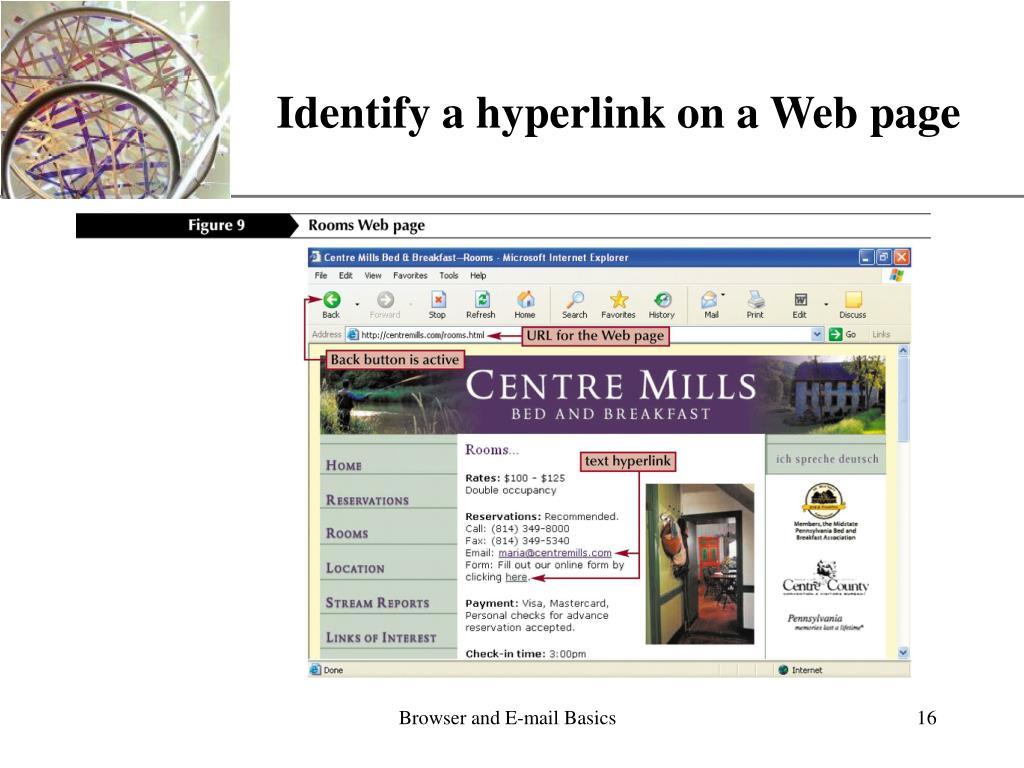 Identify a hyperlink on a Web page