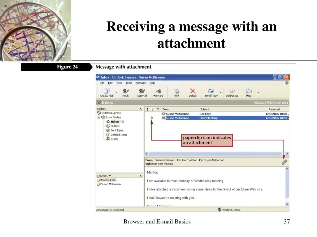 Receiving a message with an attachment