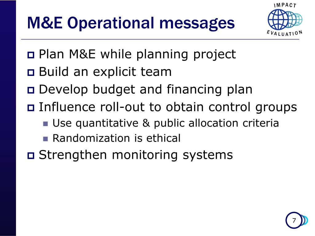 M&E Operational messages