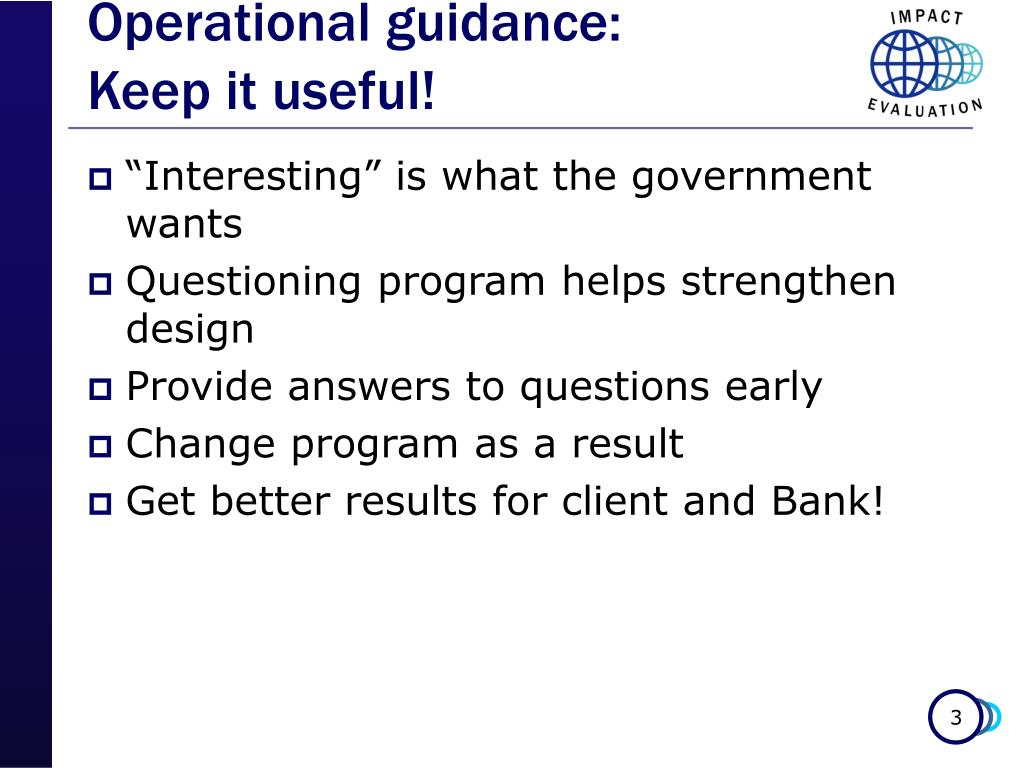 Operational guidance: