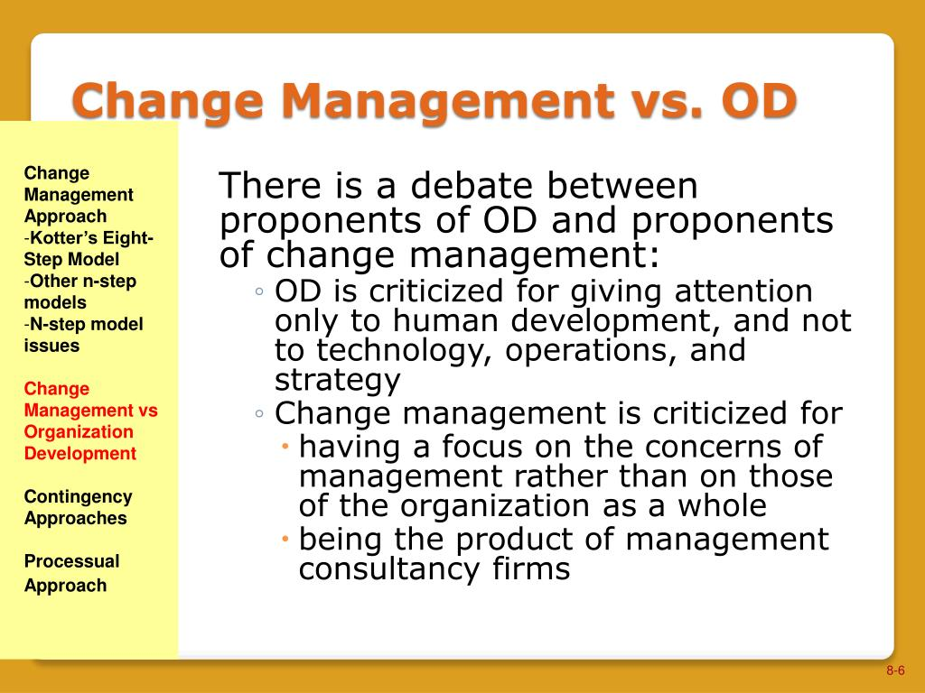 od and processual approaches Change management vs organization development contingency approaches  processual approach 8-2 kotter's eight-step model kotter's eight-step model.