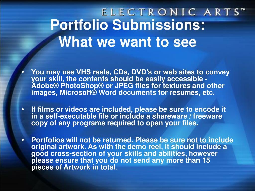 Portfolio Submissions: