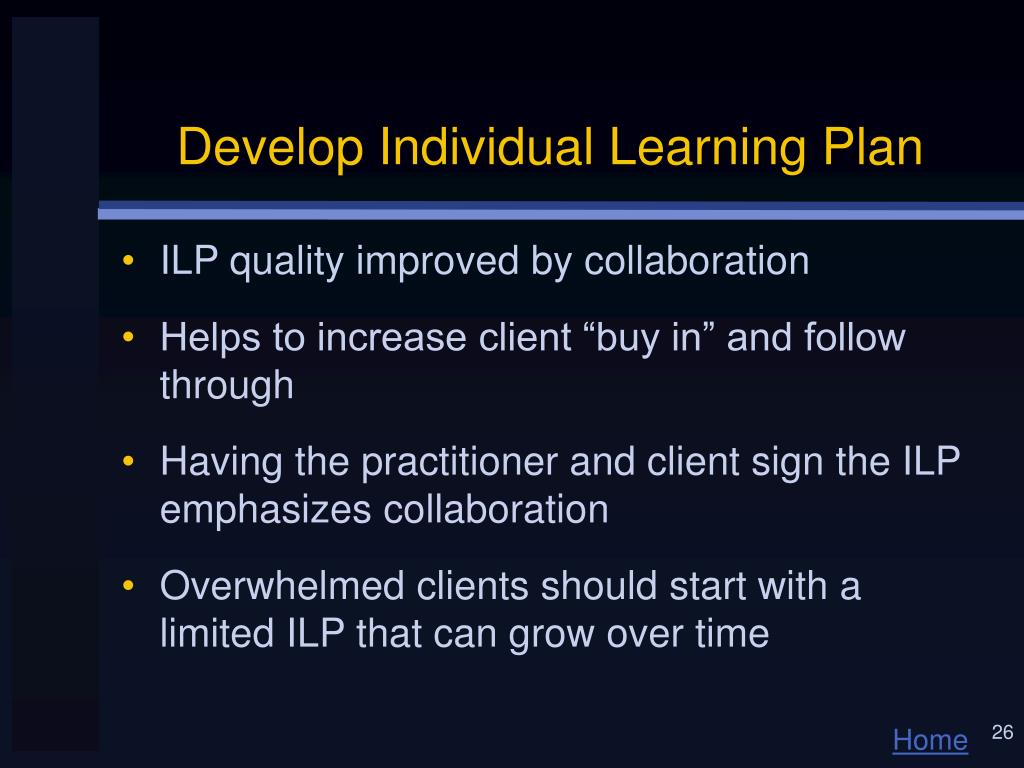 Develop Individual Learning Plan