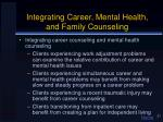 integrating career mental health and family counseling