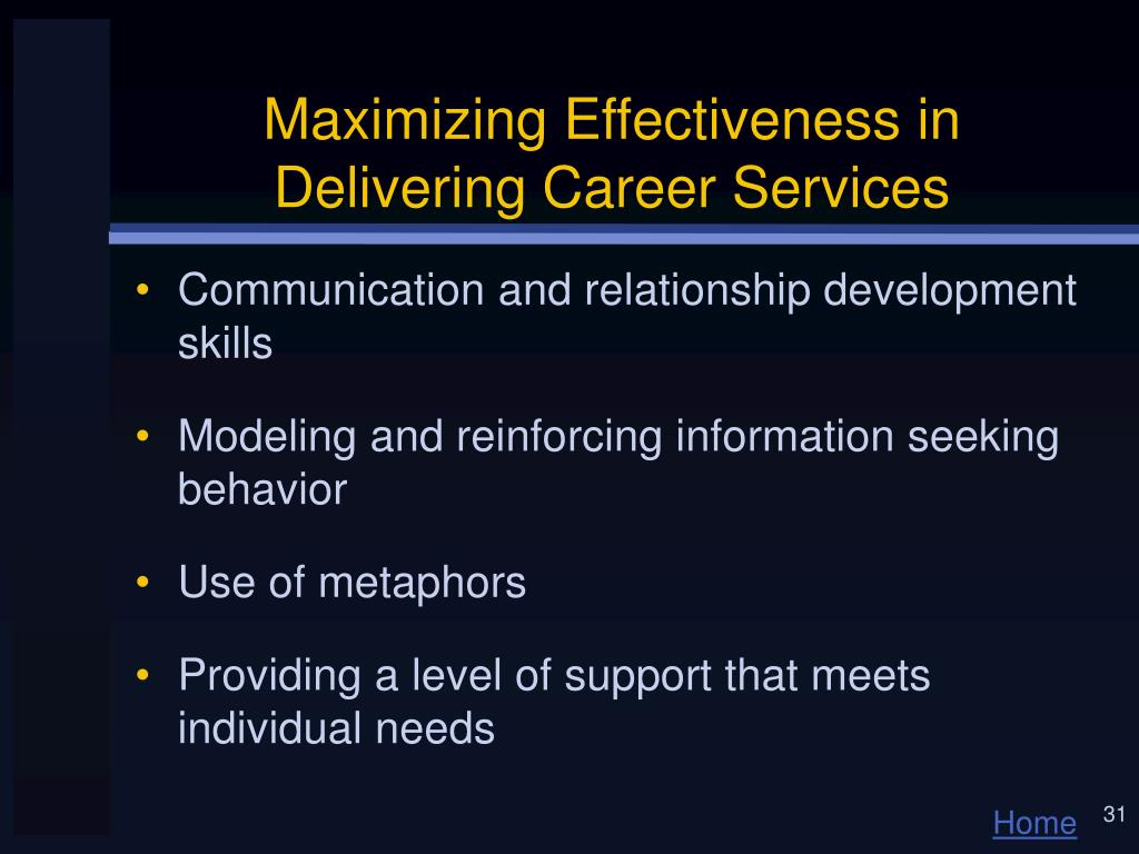 Maximizing Effectiveness in Delivering Career Services