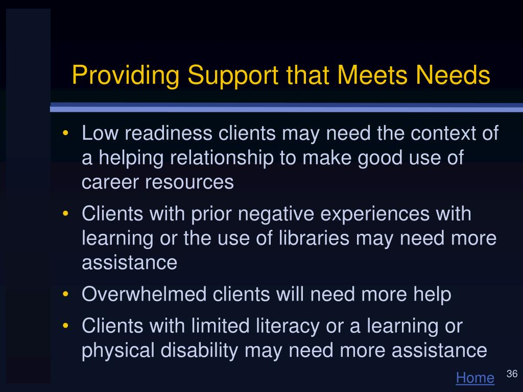 Providing Support that Meets Needs