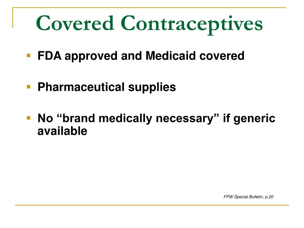 Covered Contraceptives