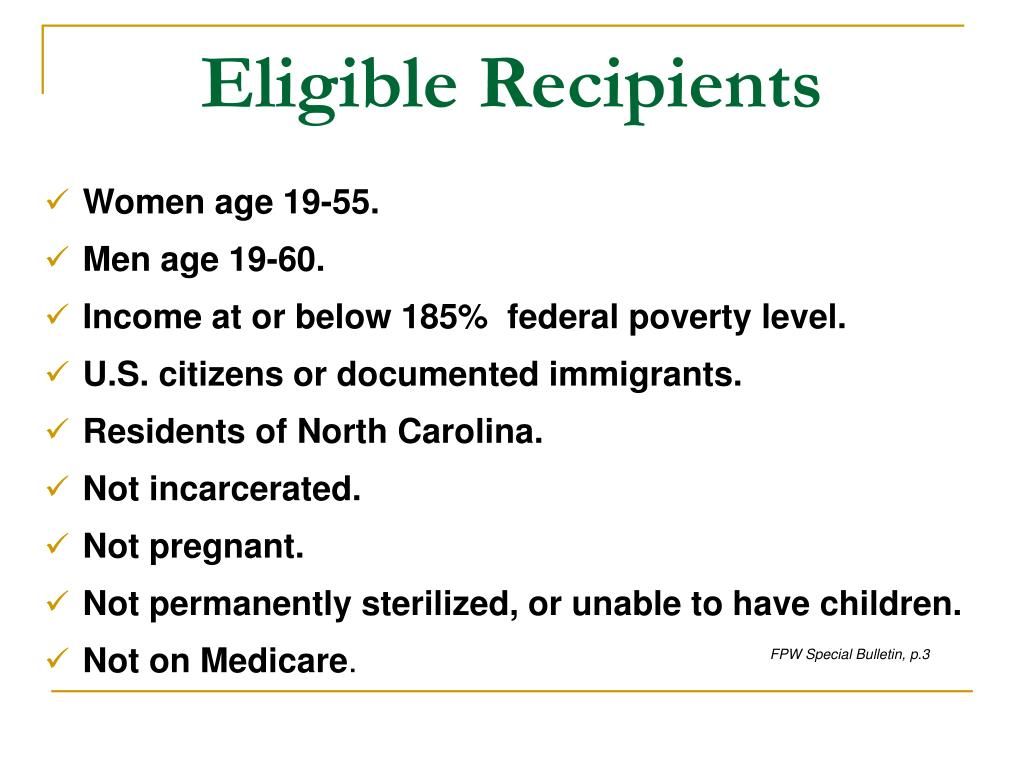 Eligible Recipients