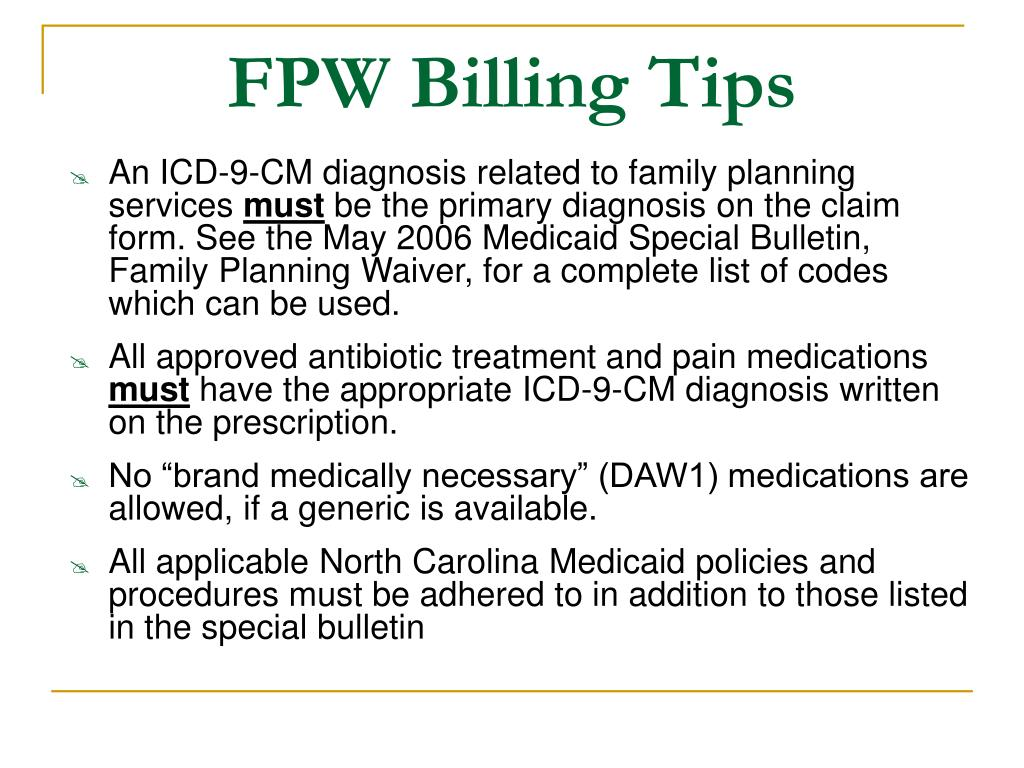 FPW Billing Tips