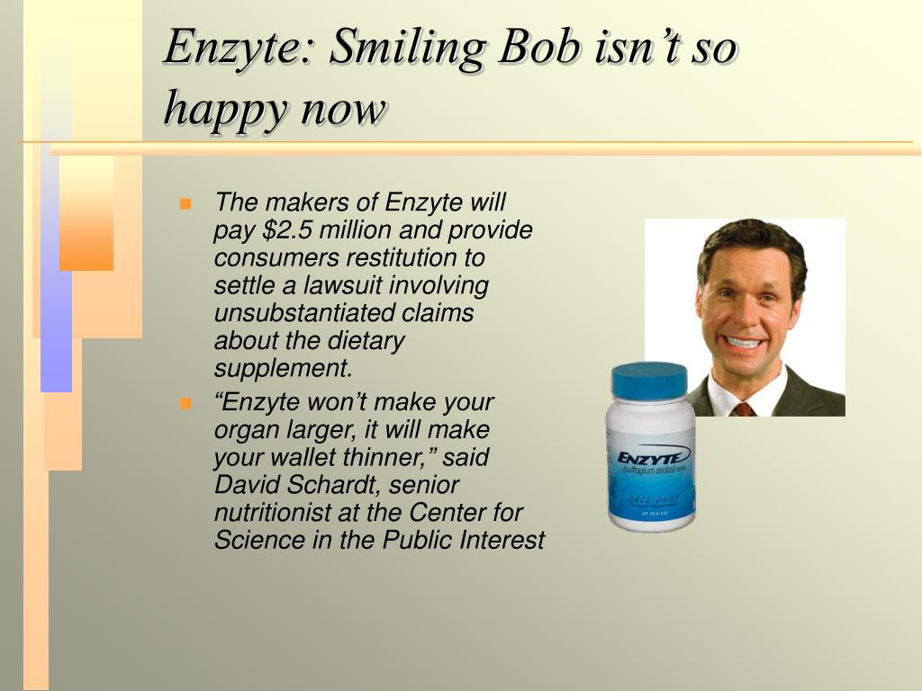 Enzyte: Smiling Bob isn't so happy now