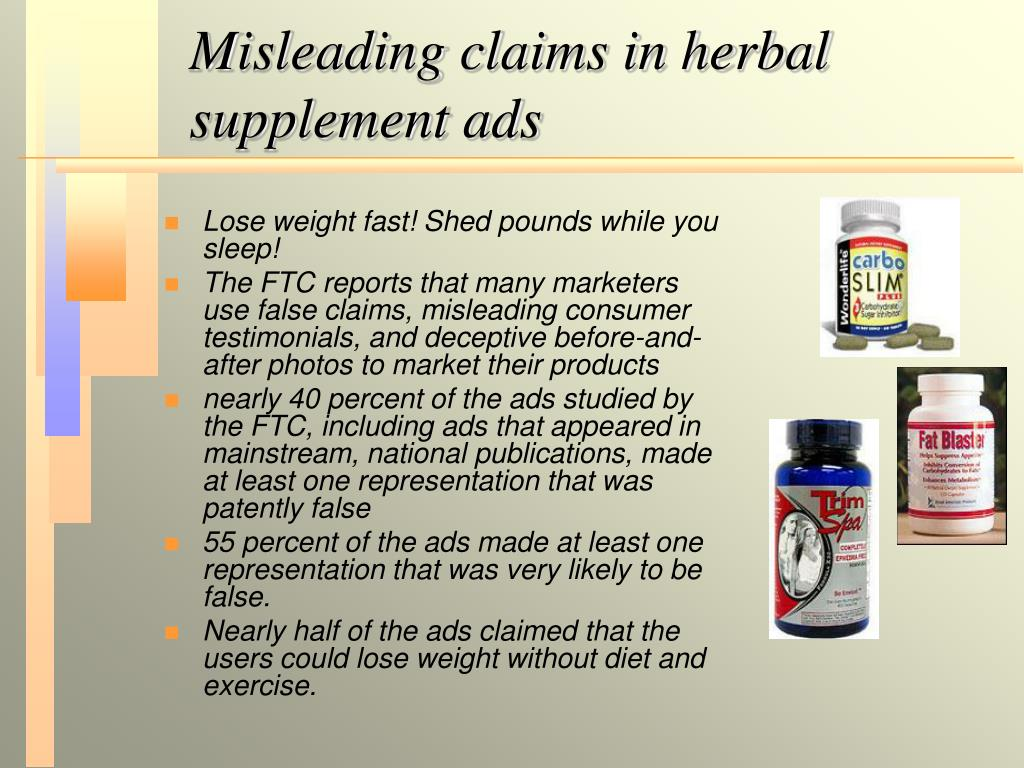 Misleading claims in herbal supplement ads