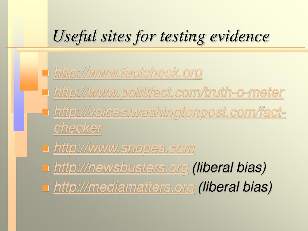 Useful sites for testing evidence