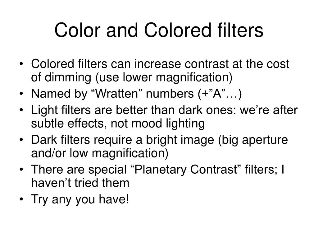 Color and Colored filters