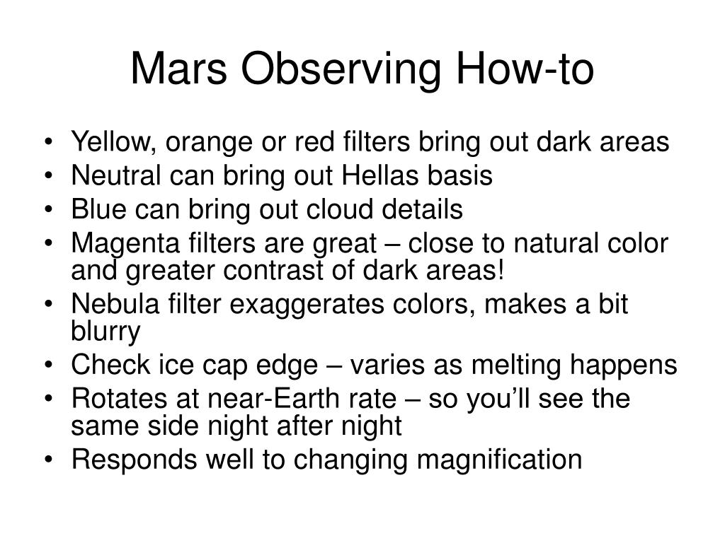 Mars Observing How-to