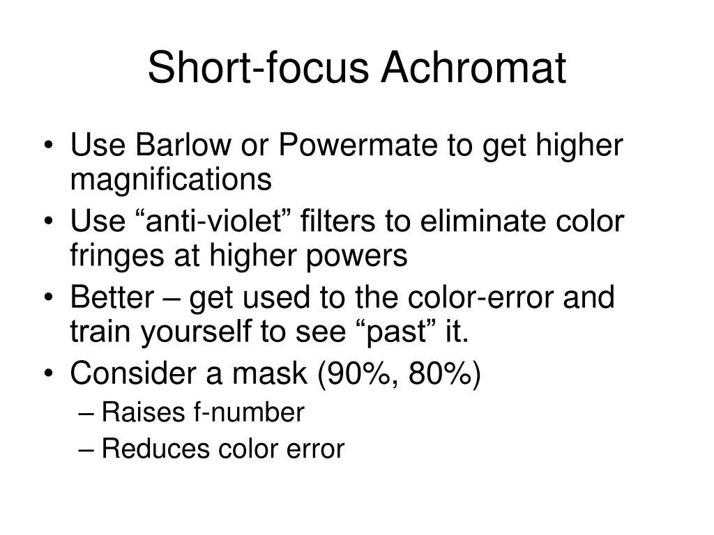 Short-focus Achromat