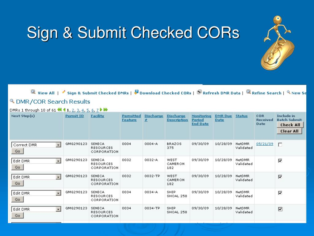 Sign & Submit Checked CORs