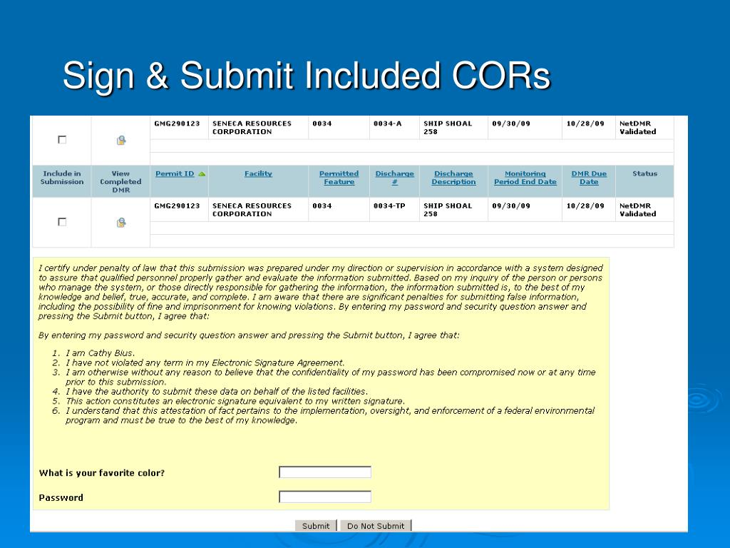 Sign & Submit Included CORs