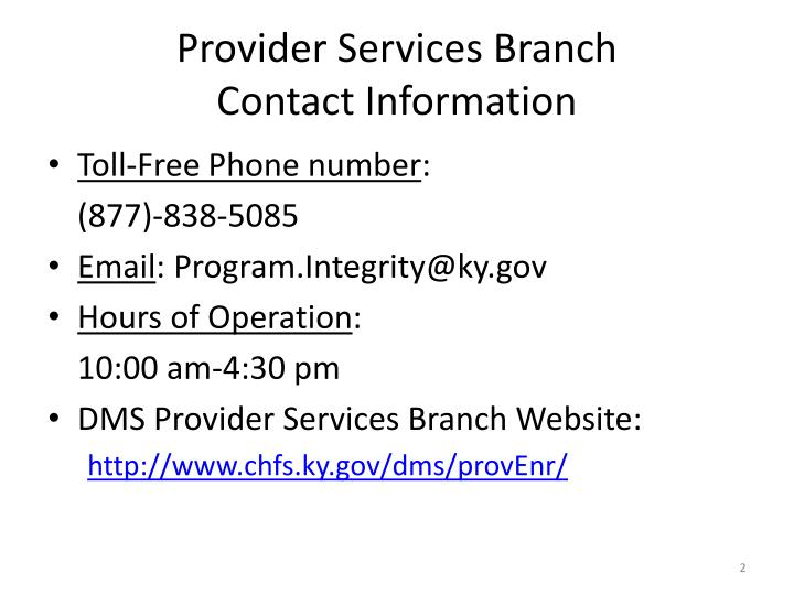 Provider services branch contact information