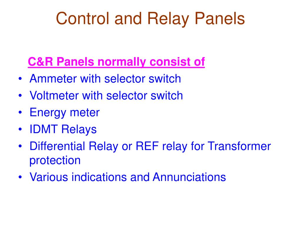 Control and Relay Panels