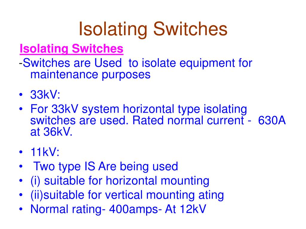 Isolating Switches
