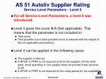 as 51 autoliv supplier rating service level parameters level 0