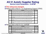 as 51 autoliv supplier rating service level parameters s apqp