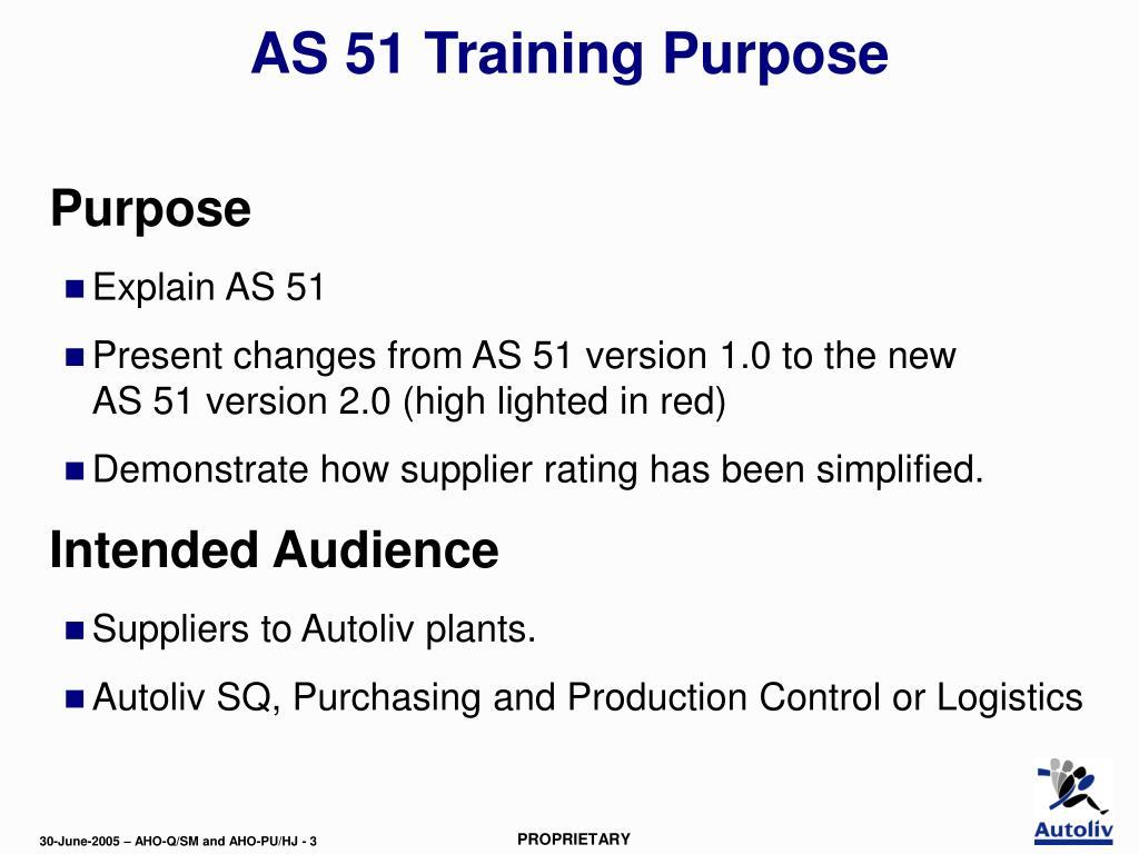 AS 51 Training Purpose