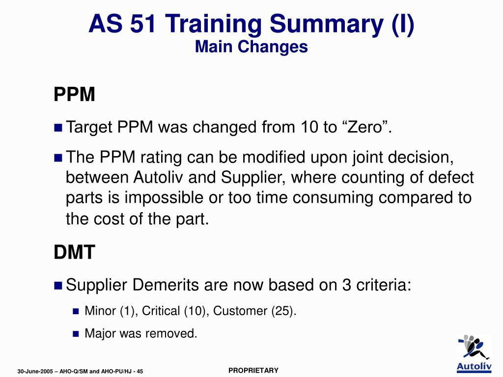 AS 51 Training Summary (I)