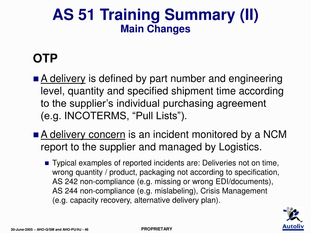AS 51 Training Summary (II)