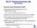 as 51 training summary iii main changes