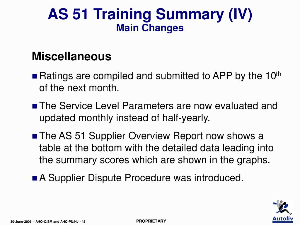 AS 51 Training Summary (IV)