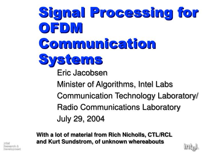 Signal processing for ofdm communication systems l.jpg